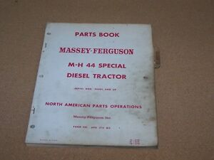 Orignal Mh 44 44 Special Diesel Tractor Massey Harris Ferguson Parts Book Manual