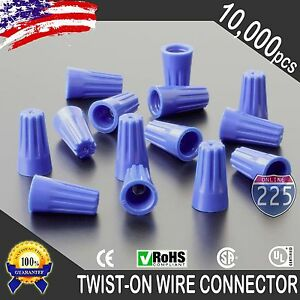 10000 Blue Twist on Wire Gard Connector Conical Nuts 22 14 Gauge Barrel Screw Us