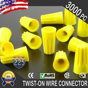 3000 Yellow Twist on Wire Gard Connector Conical Nuts 18 12 Gauge Barrel Screw