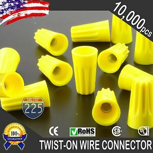 10000 Yellow Twist on Wire Gard Connector Conical Nuts 18 12 Gauge Barrel Screw