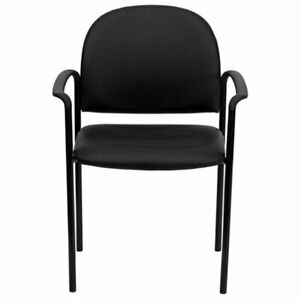Scranton Co Faux Leather Side Guest Chair With Arms In Black
