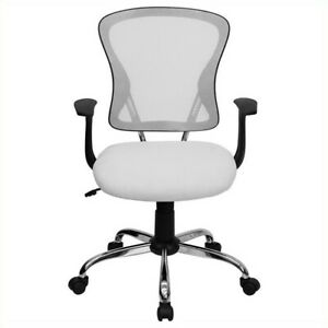 Office Chair For Computer Desk Executive Task Mid Back Mesh Fabric In White