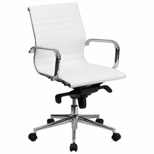 Pemberly Row Mid Back Upholstered Office Chair In White