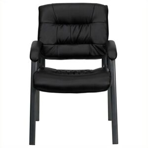Flash Furniture Executive Side Guest Chair In Black With Titanium Frame