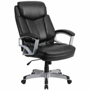 Flash Furniture Big And Tall Leather Swivel Office Chair In Black