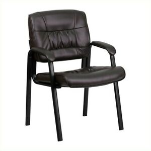 Flash Furniture Leather Guest Chair In Brown With Black Frame Finish