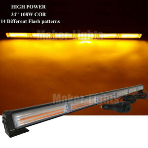 34 Cob Led Amber Traffic Advisor Beacon Emergency Flash Strobe Light Bar 12 24v