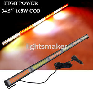 108w Cob 34 5 Amber white Flash Warn Traffic Advisor Emergency Strobe Light Bar