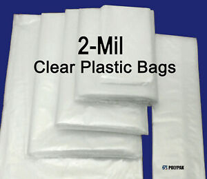Clear Poly 2 mil Plastic Bags Flat Open Top Fda Packaging Impulse Sealer Baggies