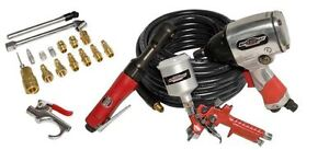 Air Tool Kit Compressors 21 Piece Pneumatic Impact Wrench Spray Gun Hose Ratchet