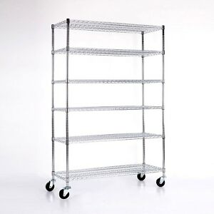 6 Tier 82 x46 x18 Wire Shelving Rack Heavy Layer Duty Steel Shelf Adjustable