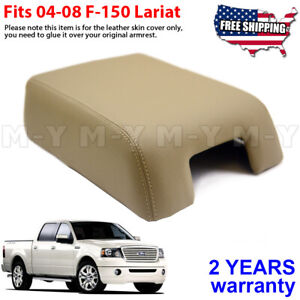 Fits 2004 2008 Ford F150 Lariat Leather Center Console Lid Armrest Cover Beige