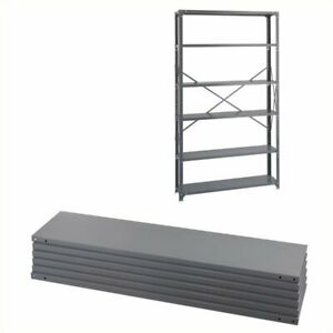 Safco Steel 6 Pack Shelving Kit With Posts 12 X 48 In Gray