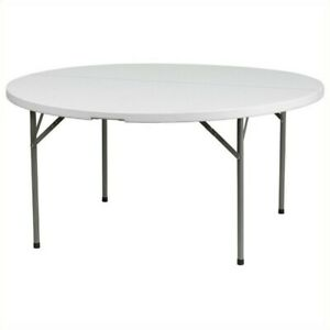 Flash Furniture 60 Round Plastic Folding Table In Granite White