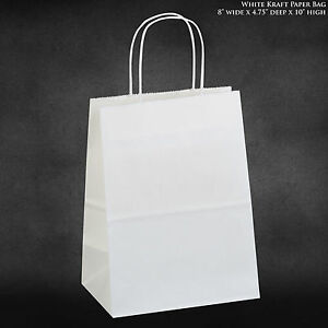 8 x4 75 x10 5 White Kraft Paper Bags Shopping Merchandise Party Gift Bags