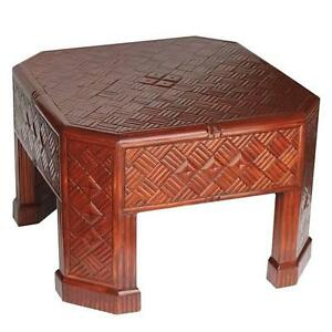 Mid Century Lacquered Bamboo Cocktail Table With Diagonal Parquetry Inlay