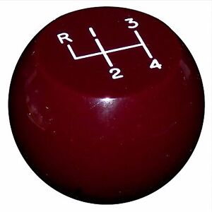 Vintage Flat Top Burgundy 4 Speed Shift Knob 3 8 24 Thread U S Made