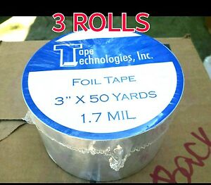 3 Rolls Hvac Tape Technologies Aluminum Foil Tape 3 X 1 7 Mil X 150 Ft Each