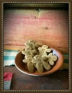 Primitive 6 Gingerbread Man Blackened Beeswax Spiced Gingers Bowl Filler Ornies