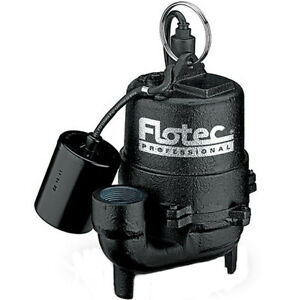 Flotec E3375tlt 1 3 Hp Cast Iron Effluent Pump W Piggyback Tether Float