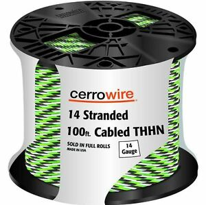 Stranded 14 3 Thhn Cable 100 Spool Indoor Pre cut Jacketed 20 Amp Copper Wire