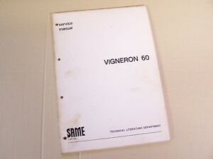 Same Vigneron 60 Tractor Service Repair Manual In English S a m e