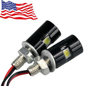 2x Motorcycle Screw Smd Led Bolt Lamp Car Universal License Plate Light