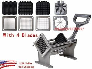 Potato French Fry Fruit Vegetable Commercial Cutter Slicer Cutting W 4 Blades V