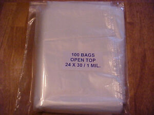 100 Clear Plastic 1 Mil 24x30 Poly Bags 24 X 30 Free Shipping