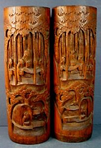 18th Century Pair Chinese Carved Bamboo Sages In Bamboo Grove Brush Pots