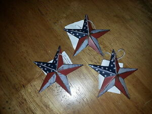 3 Primitive Americana 3 5 Barn Stars Red White Blue Ornaments Rustic