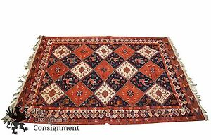 Antique Hand Knotted Jijim Kilim 5 X 7 Red Area Rug Runner Pakistan Animal