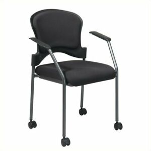 Scranton Co Upholstered Rolling Guest Chair With Arms In Black