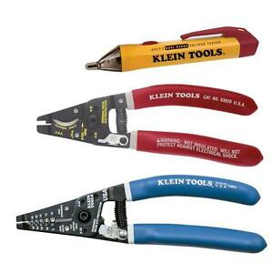 Klein Tools Cut Strip Test Electrician Wire Striping 3 Tool Kit Cable Cutter Set