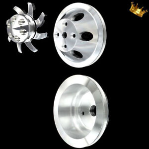 Billet Small Block 3 Pulley Set Fits Chevy 350 383 400 With Long Water Pump Sbc