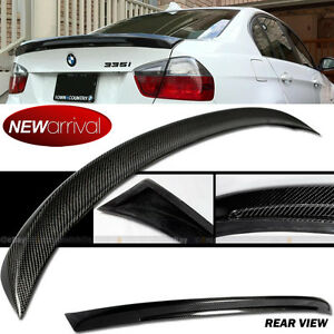 For 06 11 E90 3 Series 4dr Sedan M Tech Style Carbon Fiber Rear Trunk Spoiler