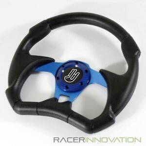 Universal Fit 320mm Aftermarket Racing Sport Steering Wheel Blue 6 Bolt Lug Horn