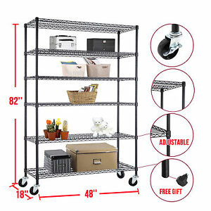 82 x48 x18 6 Tier Layer Wire Shelving Rack Heavy Duty Steel Shelf Adjustable