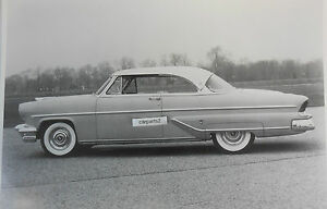 12 By 18 Black White Picture 1955 Lincoln Capri 2 Door Hardtop Side View