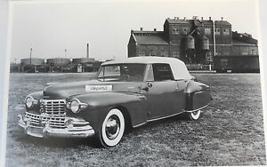 12 By 18 Black White Picture 1947 Lincoln Continental Convertible Top Up