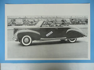 12 By 18 Black White Picture 1940 Lincoln Zepher Convertible Top Down