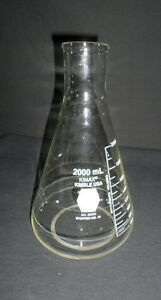 Kimble Kimax Glass 2000ml 2l Narrow Mouth Graduated Erlenmeyer Flask 26500 2000