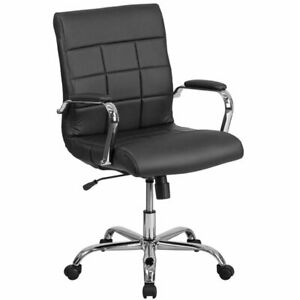 Flash Furniture Mid Back Faux Leather Swivel Office Chair In Black