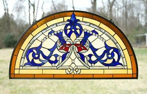 34 5 L X 18 5 H Half Round Handcrafted Stained Glass Window Glass Panel