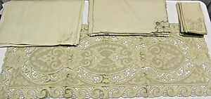 Antique Point De Venise Lace Table Runner 14 Napkins 9 Placemats