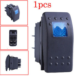 1pcs Waterproof Marine Boat Car Rocker Switch 12v On Off 4 Pin Blue Led Light Us