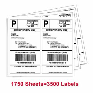 3500 Self Adhesive 8 5 X 5 5 Shipping Labels Half Sheet Usps Ebay Paypal Fedex