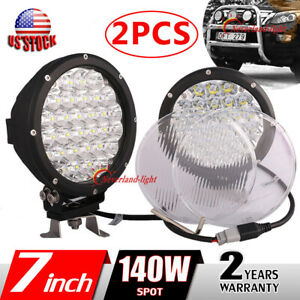 2x7 Inch 140w 6000k Round Led Work Light Spot Head Driving Lamp Offroad Covers