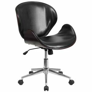 Flash Furniture Leather Swivel Office Chair In Black And Mahogany