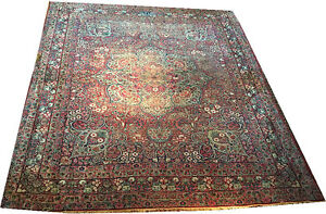 A Lovely Decorative Antique Persian Signed Worn Out Persian Lavar Kerman Rug